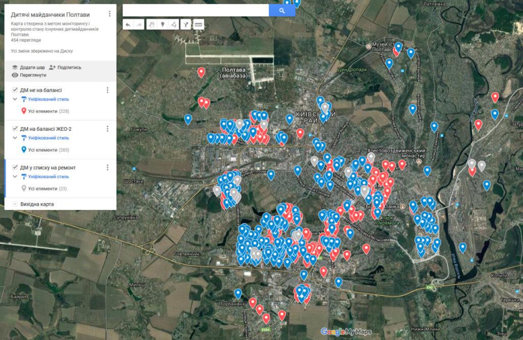 Карта дитячих майданчиків, яку створила ініціативна група. Наразі має обмежений доступ